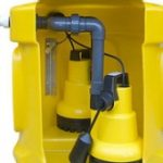 Sump chamber and double pumps. This example is at the high end of the product range. Sump chamber is sub-floor voids are usually a lesser specification and lower cost.